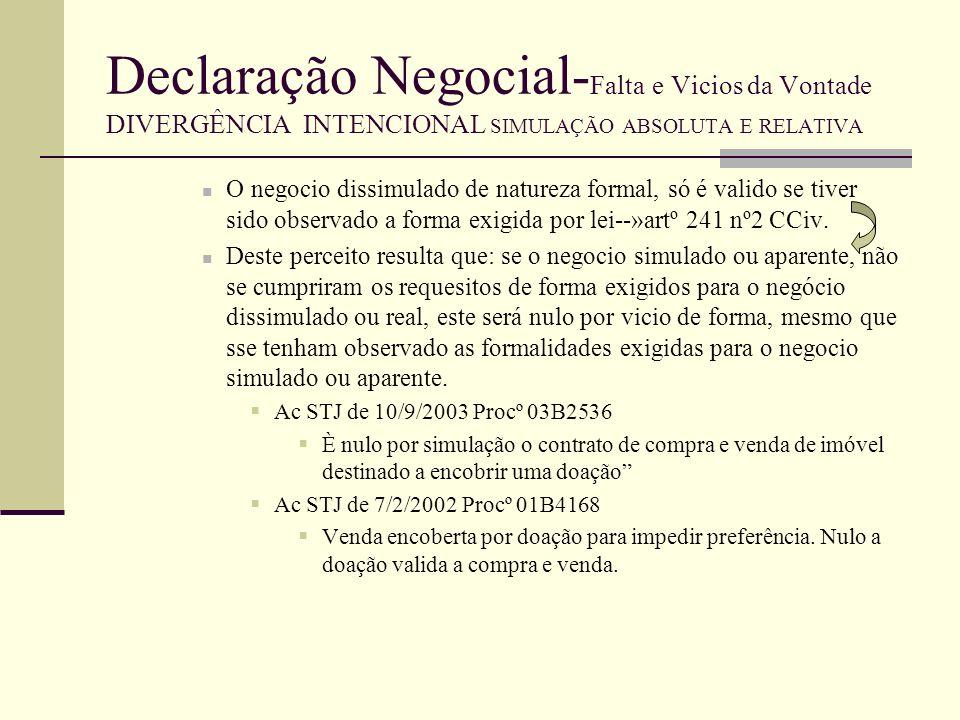 Declaração Negocial- Falta e Vicios da Vontade DIVERGÊNCIA INTENCIONAL SIMULAÇÃO ABSOLUTA E RELATIVA Simulação de Valor--» incide sobre o quantum de prestações estipulados entre as partes.