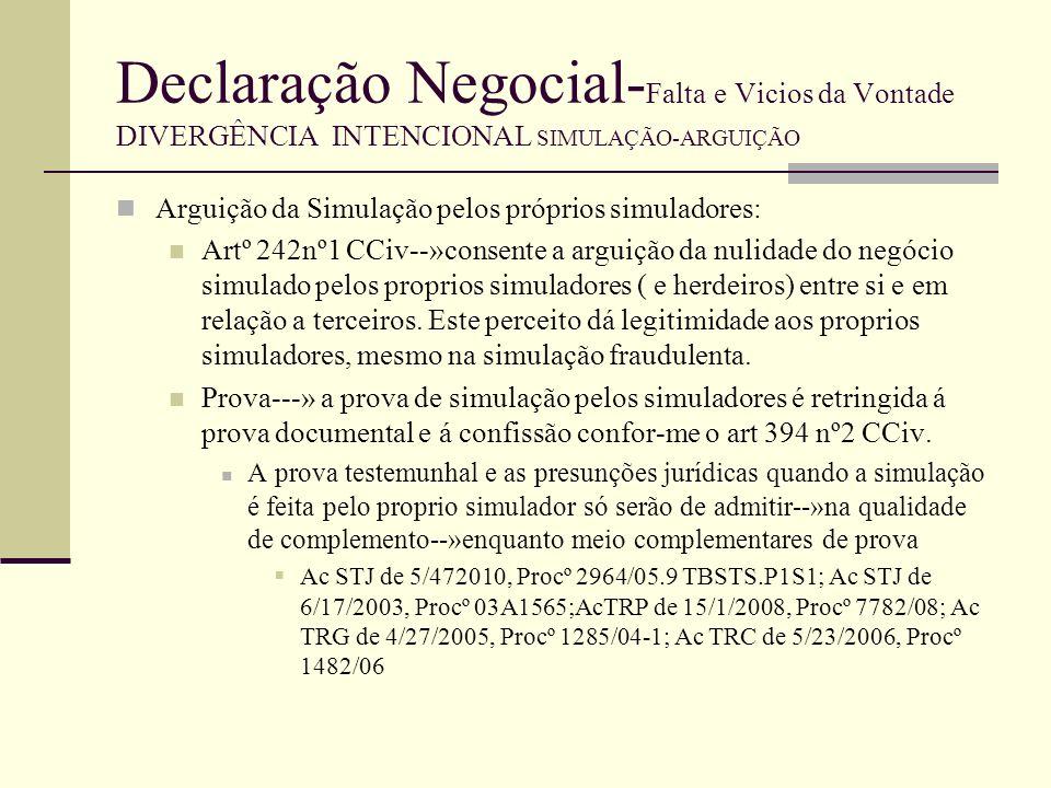 Declaração Negocial- Falta e Vicios da Vontade DIVERGÊNCIA INTENCIONAL SIMULAÇÃO-ARGUIÇÃO Vale igual regime em relação as presunções judiciais, face ao disposto no artº 351º CCiv Ac STJ de 5/4/2010, Procº 2964/05.9TBSTS.P1.S1 Esta limitação de prova da simulação pelos simuladores vale tanto quando invoncam a simulação entre si (simulador Vs simulador), quando invocam em relação a terceiros (simuladores VS Terceiros) e tanto em relação á prova do acordo simulatório como emrelação á prova do negocio dissimulado--»artº 394 nº2 CCiv Artº 394nº3 CCiv--» tal limitação não vale me relação a terceiros, isto porque estes (terceiros) não estava ao seu alcance, como estava ao dos simuladores, munirem-se de documentos comprovativos de simulação, e nem estes a existirem, estarão na sua disponibilidade.