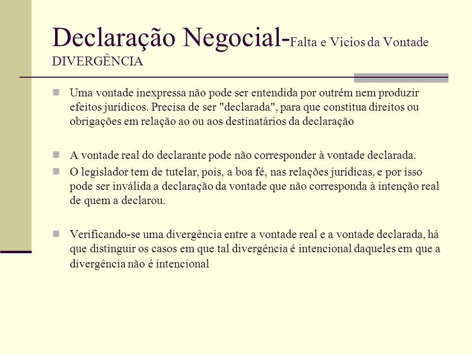 Declaração Negocial- Falta e Vicios da Vontade DIVERGÊNCIA Pois, normalmente o que acontece na divergência entre a vontade e declaração é---»o elemento interno (vontade) e o elemento externo da declaração negocial (declaração propriamente dita) não coinciderão e esta divergência pode ser intencional ou não.