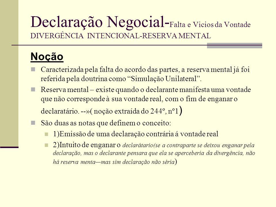 Declaração Negocial- Falta e Vicios da Vontade DIVERGÊNCIA INTENCIONAL-RESERVA MENTAL Reserva mental Simulação A reserva mental é unilateral, ou seja, a divergência entre a vontade e a declaração existe apenas no declarante.