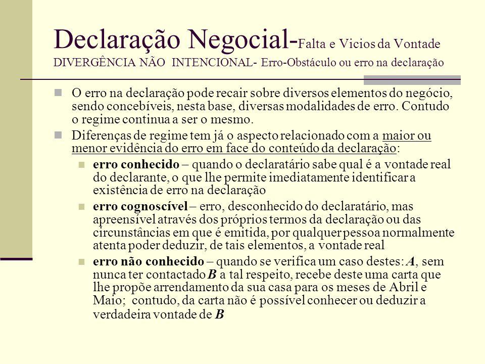 Declaração Negocial- Falta e Vicios da Vontade DIVERGÊNCIA NÃO INTENCIONAL- Erro-Obstáculo ou erro na declaração REGIME Erro conhecido – 236º, nº2 – quando o declaratário conheça a vontade real do declarante, o negócio vale de acordo com esta vontade; o erro é irrelevante e o negócio válido, tal como o declarante efectivamente o queria Erro cognoscível – 236º, nº1 – não há erro conhecido, contudo um declaratário normal não poderia atribuir ao negócio outro sentido que não fosse coincidente com a vontade real do declarante, apurado o contexto e as circunstâncias do negócio 249º - validade do negócio, reconhecendo apenas ao declarante a sua rectificação Erro não conhecido – aplica-se o regime dos arts.