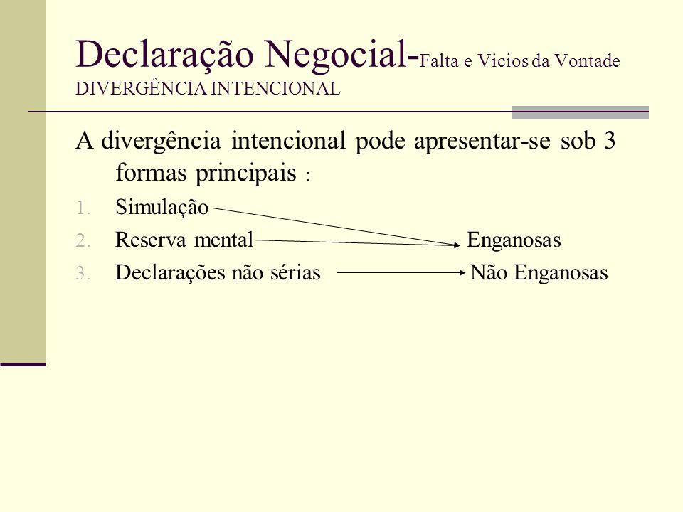 Declaração Negocial- Falta e Vicios da Vontade DIVERGÊNCIA NÃO INTENCIONAL A divergência não intencional pode apresentar-se sob 3 formas principais : 1.