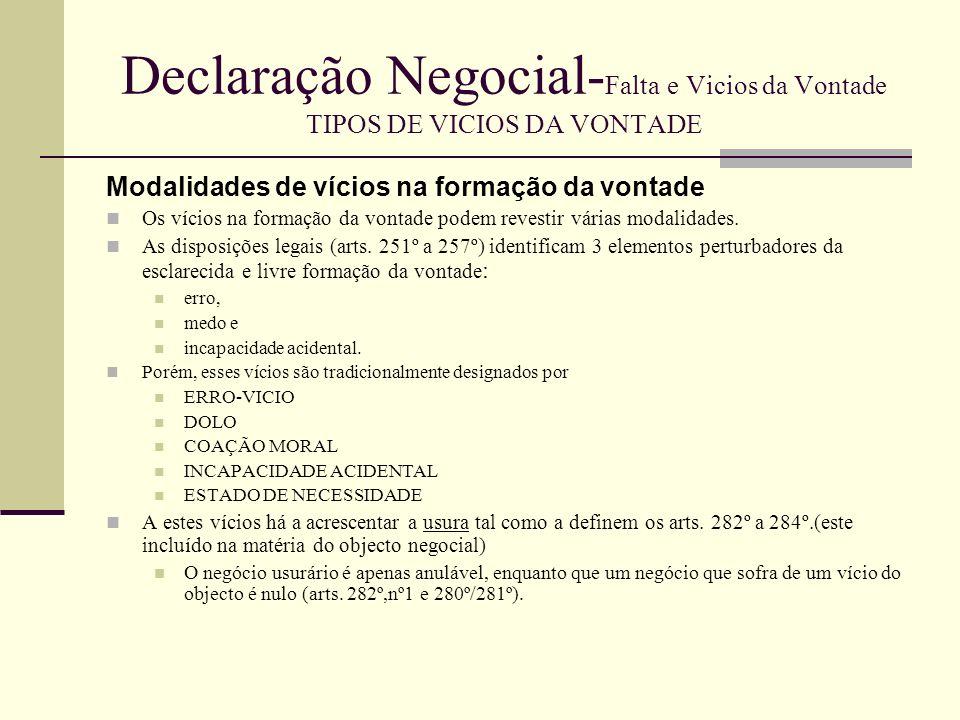Declaração Negocial- Falta e Vicios da Vontade TIPOS DE VICIOS DA VONTADE Breve referência à lesão e aos vícios redibitórios Lesão e vícios redibitórios – institutos com afinidade com a matéria dos vícios do negócio.