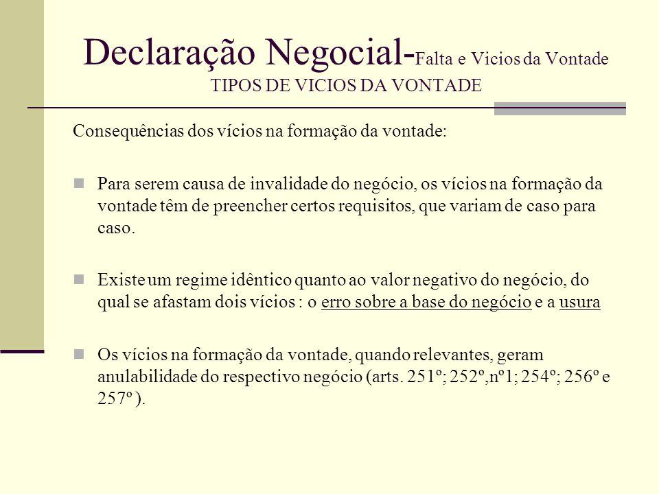 Declaração Negocial- Falta e Vicios da Vontade TIPOS DE VICIOS DA VONTADE Não havendo um regime específico temos de socorrer-nos dos arts.