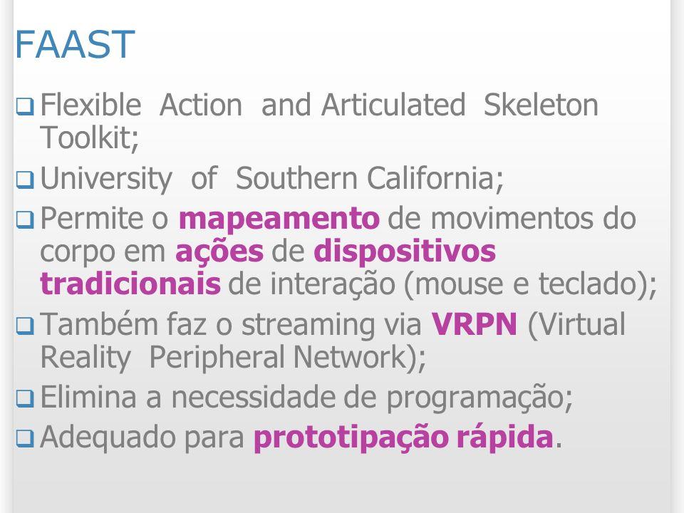 FAAST Flexible Action and Articulated Skeleton Toolkit; University of Southern California; Permite o mapeamento de movimentos do corpo em ações de dis