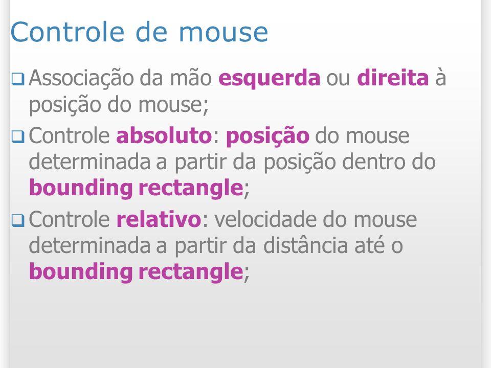 Controle de mouse Associação da mão esquerda ou direita à posição do mouse; Controle absoluto: posição do mouse determinada a partir da posição dentro