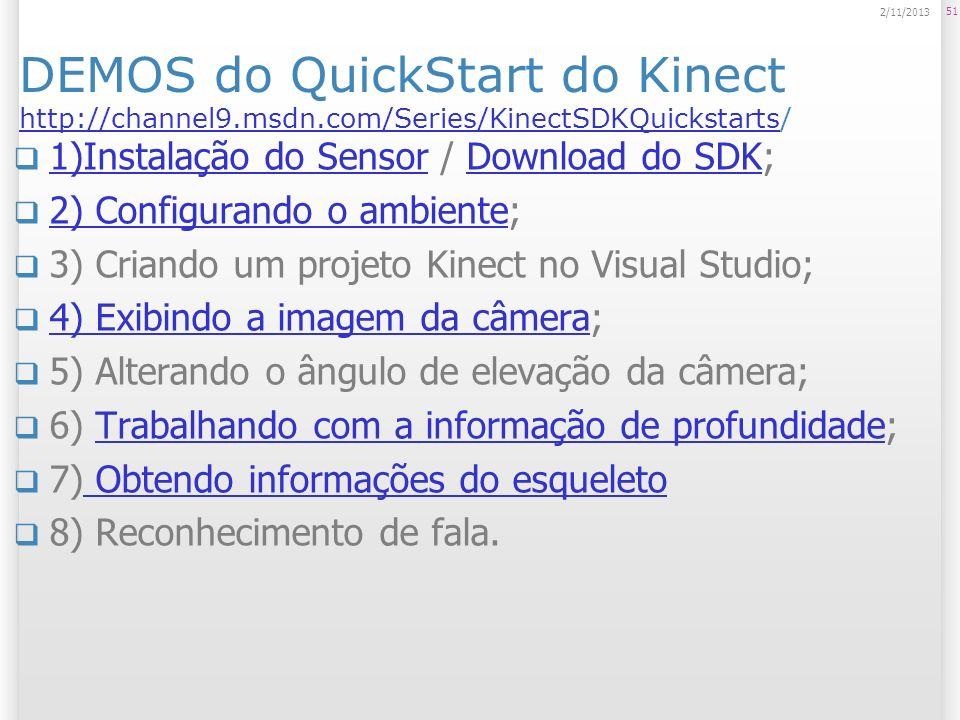 DEMOS do QuickStart do Kinect http://channel9.msdn.com/Series/KinectSDKQuickstarts/ http://channel9.msdn.com/Series/KinectSDKQuickstarts 1)Instalação