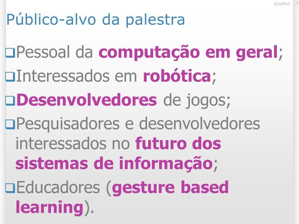 Público-alvo da palestra Pessoal da computação em geral; Interessados em robótica; Desenvolvedores de jogos; Pesquisadores e desenvolvedores interessa