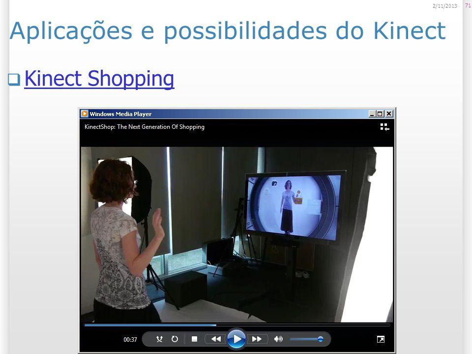 Aplicações e possibilidades do Kinect Kinect Shopping 71 2/11/2013