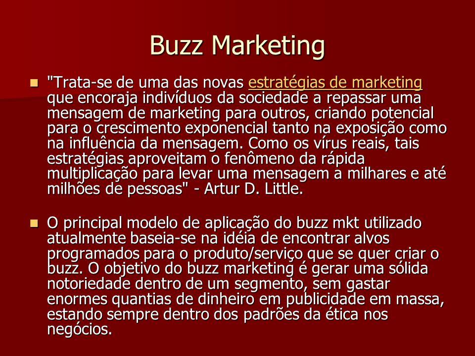 Buzz Marketing Trata-se de uma das novas estratégias de marketing que encoraja indivíduos da sociedade a repassar uma mensagem de marketing para outros, criando potencial para o crescimento exponencial tanto na exposição como na influência da mensagem.