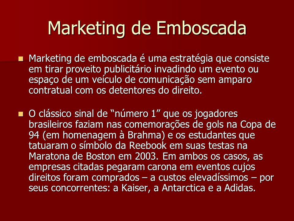 Marketing de Emboscada Marketing de emboscada é uma estratégia que consiste em tirar proveito publicitário invadindo um evento ou espaço de um veículo de comunicação sem amparo contratual com os detentores do direito.