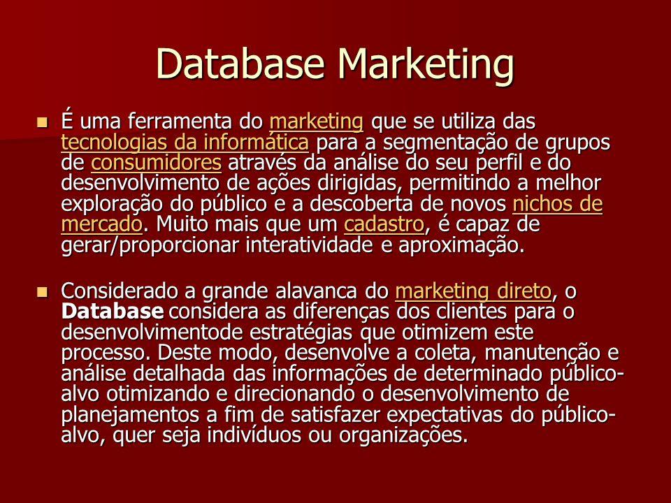 Database Marketing É uma ferramenta do marketing que se utiliza das tecnologias da informática para a segmentação de grupos de consumidores através da análise do seu perfil e do desenvolvimento de ações dirigidas, permitindo a melhor exploração do público e a descoberta de novos nichos de mercado.