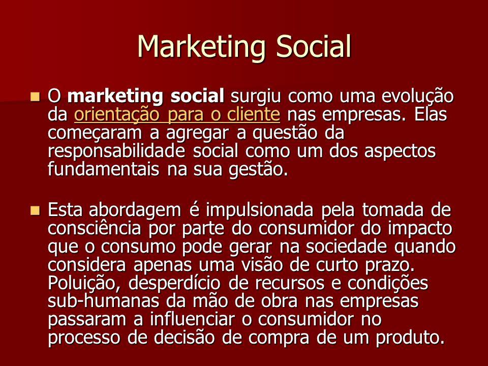 Marketing Social O marketing social surgiu como uma evolução da orientação para o cliente nas empresas.