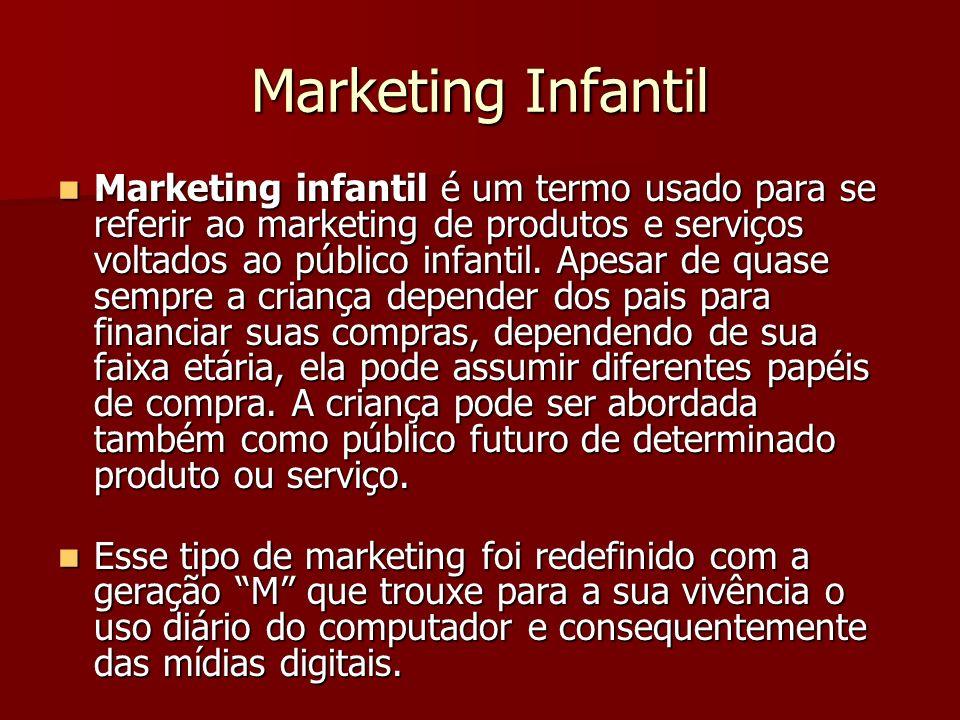 Marketing Infantil Marketing infantil é um termo usado para se referir ao marketing de produtos e serviços voltados ao público infantil.