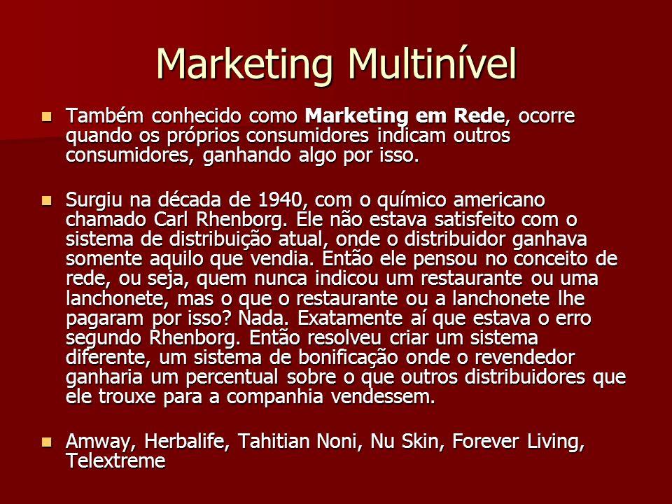 Marketing Multinível Também conhecido como Marketing em Rede, ocorre quando os próprios consumidores indicam outros consumidores, ganhando algo por isso.