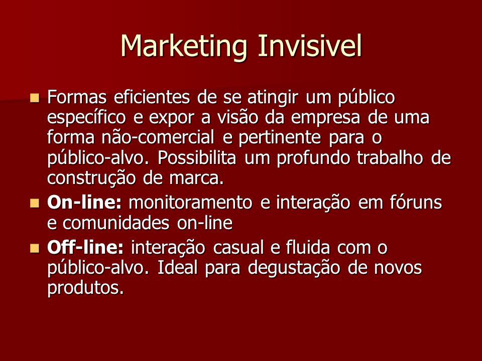 Marketing Invisivel Formas eficientes de se atingir um público específico e expor a visão da empresa de uma forma não-comercial e pertinente para o público-alvo.
