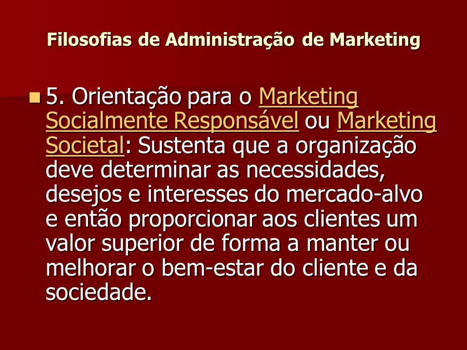 5. Orientação para o Marketing Socialmente Responsável ou Marketing Societal: Sustenta que a organização deve determinar as necessidades, desejos e in