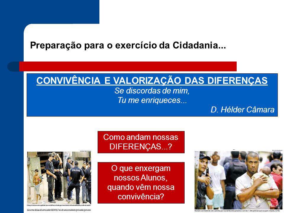 Preparação para o exercício da Cidadania... CONVIVÊNCIA E VALORIZAÇÃO DAS DIFERENÇAS Se discordas de mim, Tu me enriqueces... D. Hélder Câmara Como an