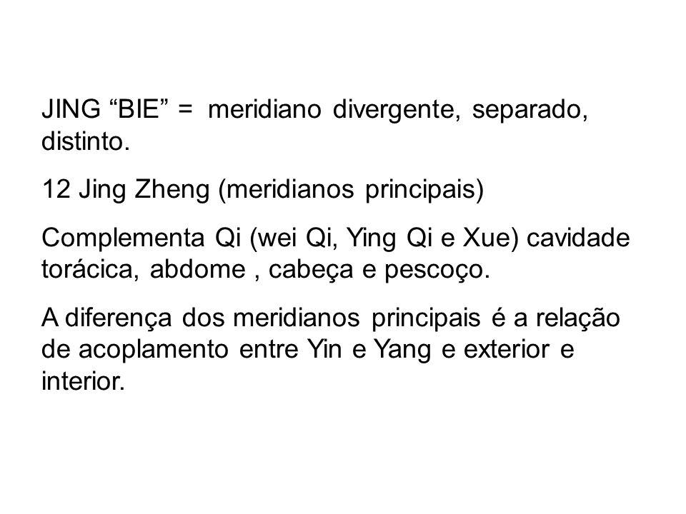JING BIE = meridiano divergente, separado, distinto. 12 Jing Zheng (meridianos principais) Complementa Qi (wei Qi, Ying Qi e Xue) cavidade torácica, a