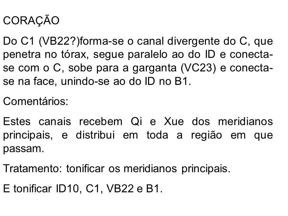 CORAÇÃO Do C1 (VB22?)forma-se o canal divergente do C, que penetra no tórax, segue paralelo ao do ID e conecta- se com o C, sobe para a garganta (VC23