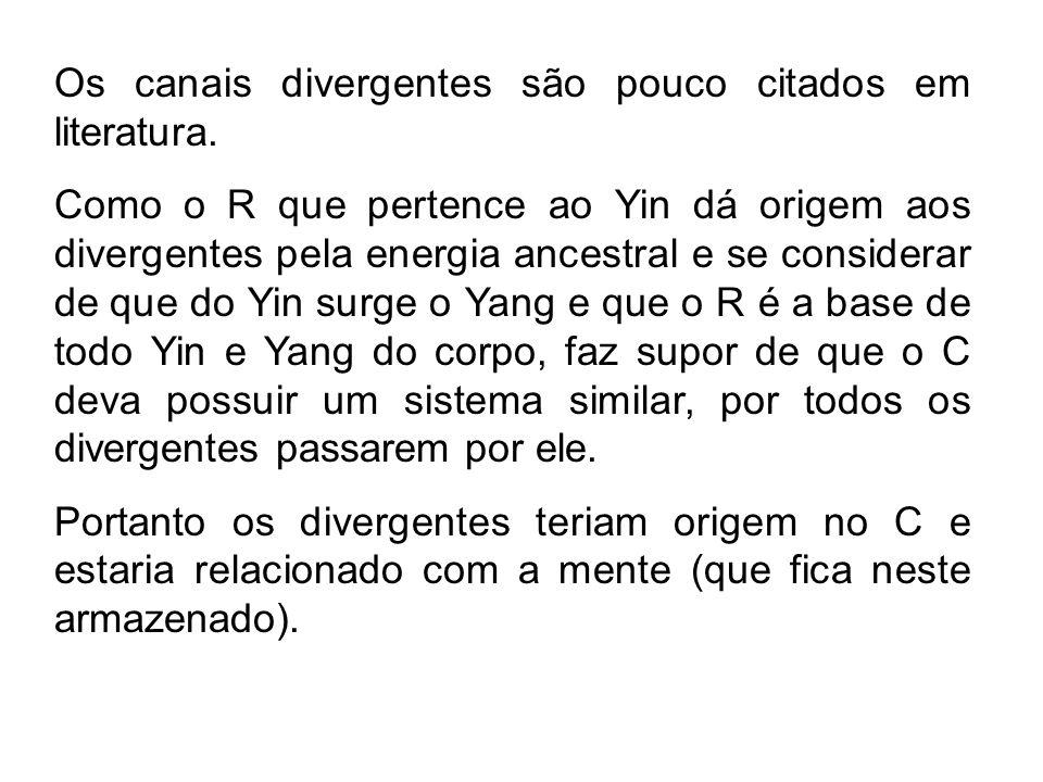 Os canais divergentes são pouco citados em literatura. Como o R que pertence ao Yin dá origem aos divergentes pela energia ancestral e se considerar d