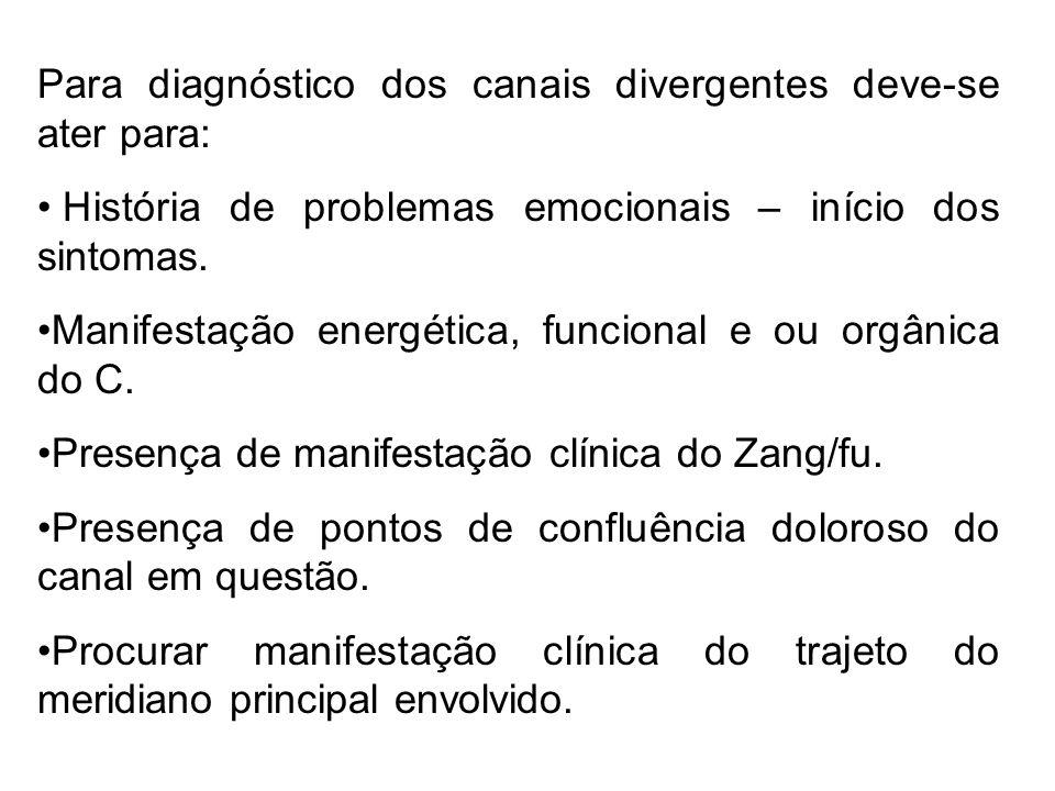 Para diagnóstico dos canais divergentes deve-se ater para: História de problemas emocionais – início dos sintomas. Manifestação energética, funcional