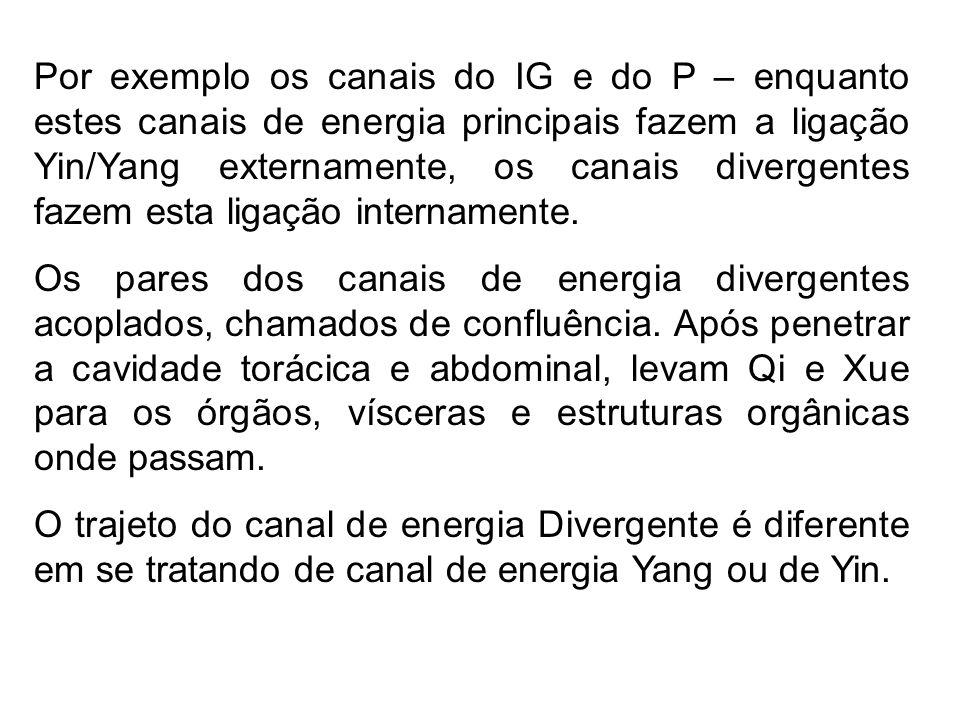 Por exemplo os canais do IG e do P – enquanto estes canais de energia principais fazem a ligação Yin/Yang externamente, os canais divergentes fazem es