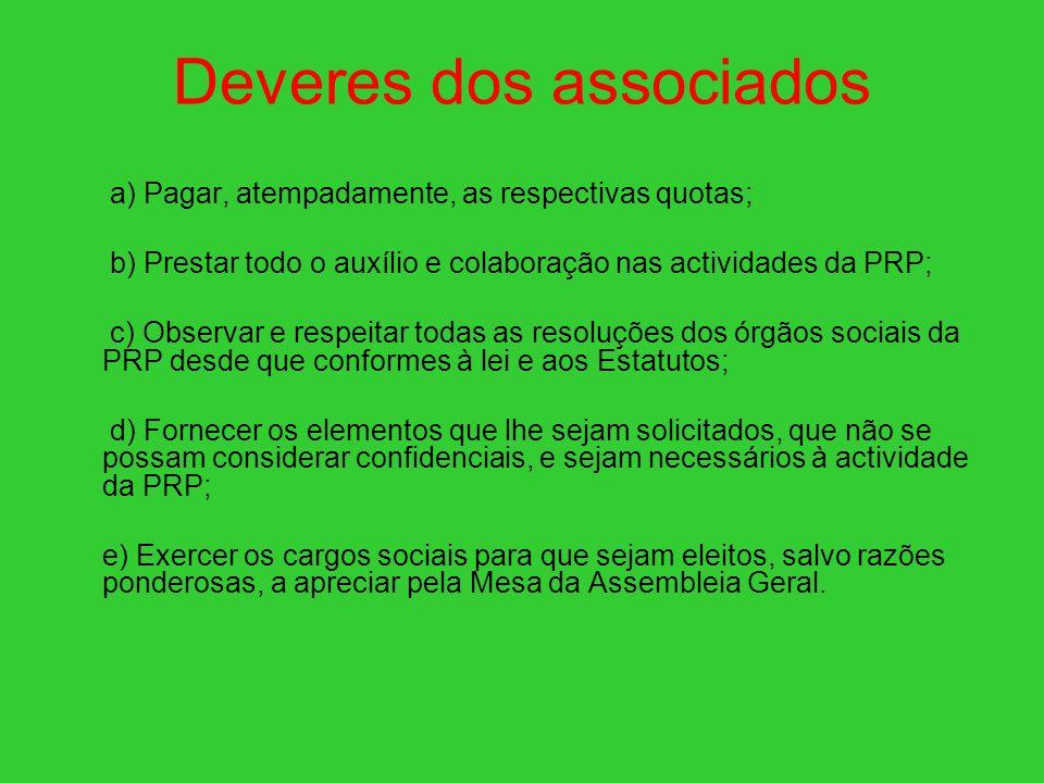 Deveres dos associados a) Pagar, atempadamente, as respectivas quotas; b) Prestar todo o auxílio e colaboração nas actividades da PRP; c) Observar e r