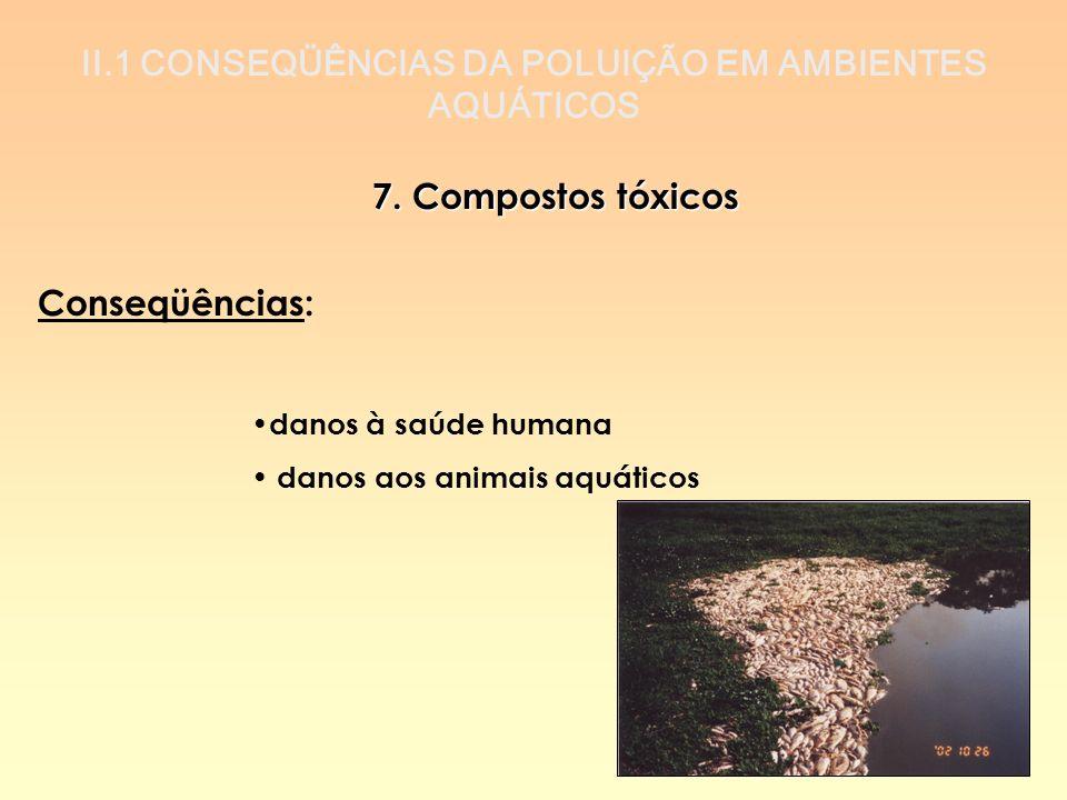 II.1 CONSEQÜÊNCIAS DA POLUIÇÃO EM AMBIENTES AQUÁTICOS 7. Compostos tóxicos Conseqüências: danos à saúde humana danos aos animais aquáticos