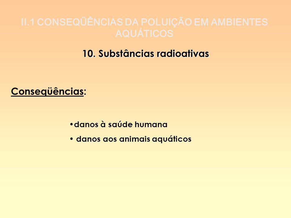 II.1 CONSEQÜÊNCIAS DA POLUIÇÃO EM AMBIENTES AQUÁTICOS 10. Substâncias radioativas Conseqüências: danos à saúde humana danos aos animais aquáticos