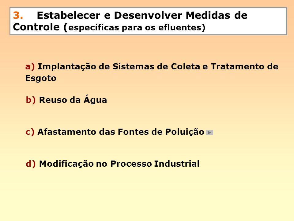 3. Estabelecer e Desenvolver Medidas de Controle ( específicas para os efluentes) d) Modificação no Processo Industrial b) Reuso da Água c) Afastament