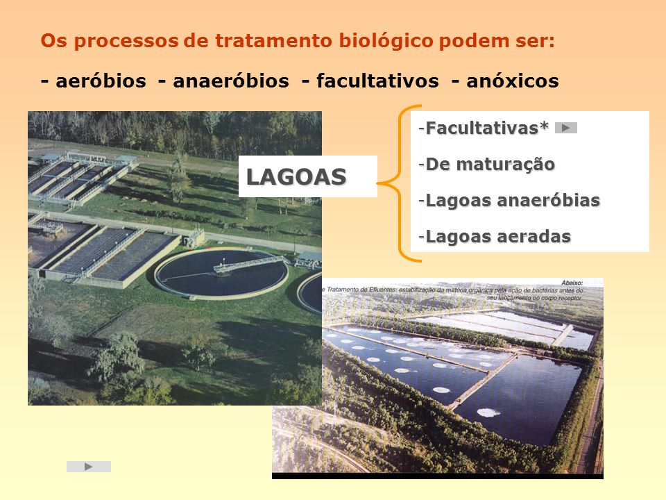 Os processos de tratamento biológico podem ser: - aeróbios - anaeróbios - facultativos - anóxicos LAGOAS -Facultativas* -De maturação -Lagoas anaeróbi