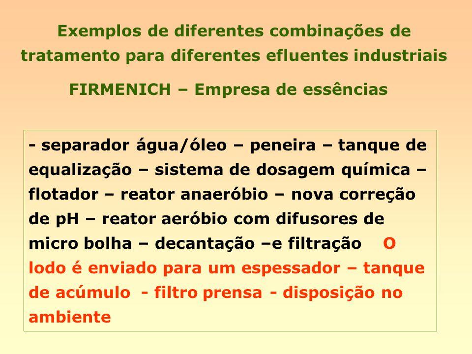 Exemplos de diferentes combinações de tratamento para diferentes efluentes industriais FIRMENICH – Empresa de essências - separador água/óleo – peneir