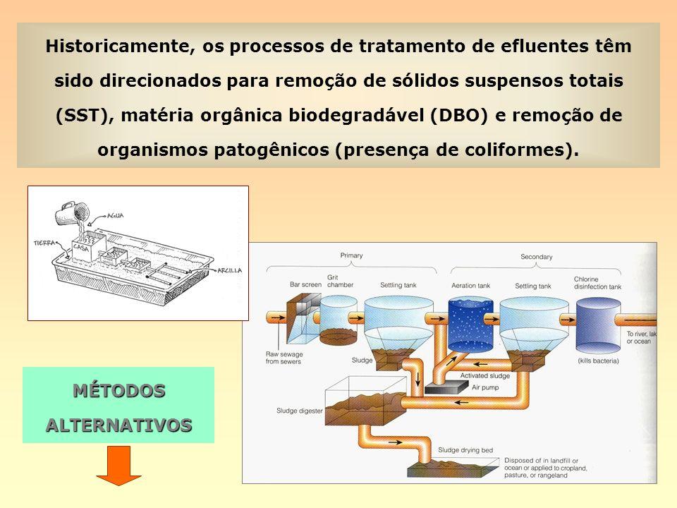 Historicamente, os processos de tratamento de efluentes têm sido direcionados para remoção de sólidos suspensos totais (SST), matéria orgânica biodegr