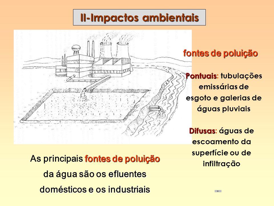 II-Impactos ambientais fontes de poluição efluentes domésticos e os industriais As principais fontes de poluição da água são os efluentes domésticos e