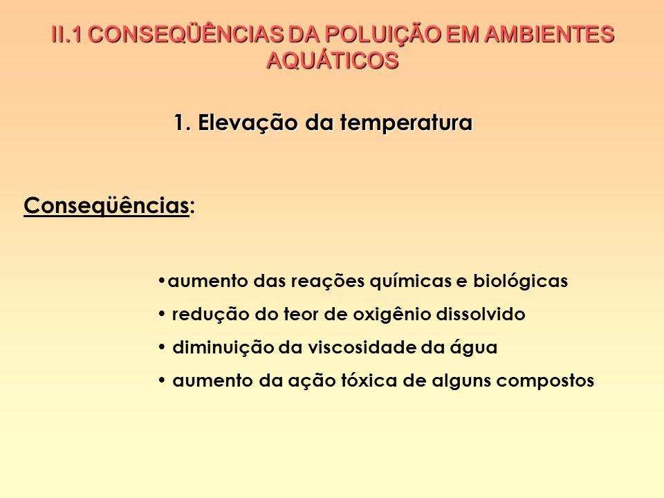 1. Elevação da temperatura Conseqüências: aumento das reações químicas e biológicas redução do teor de oxigênio dissolvido diminuição da viscosidade d