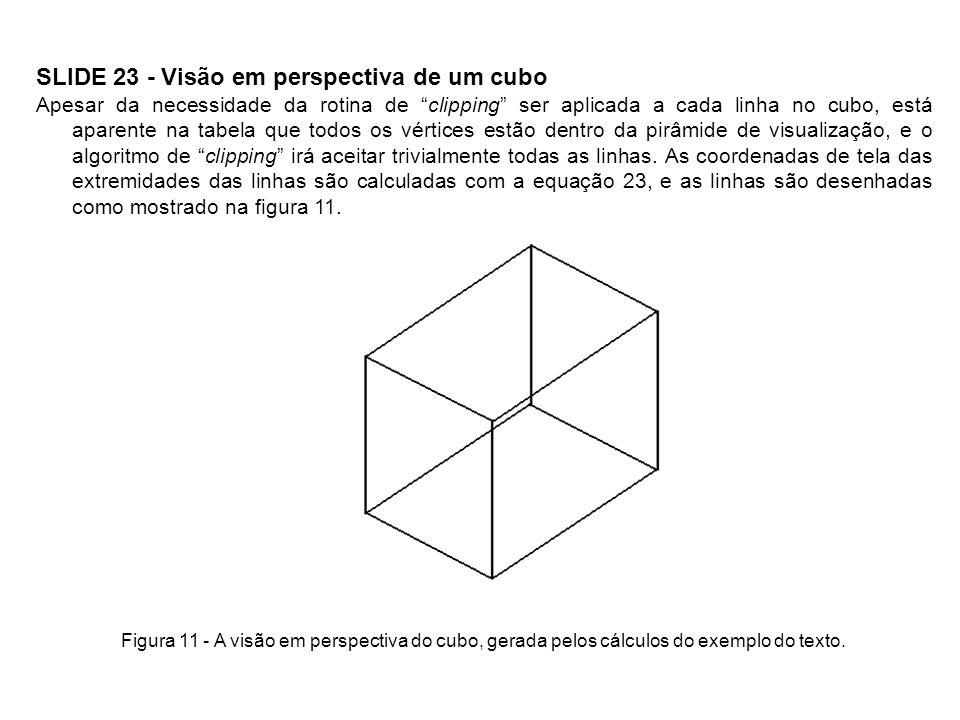 SLIDE 23 - Visão em perspectiva de um cubo Apesar da necessidade da rotina de clipping ser aplicada a cada linha no cubo, está aparente na tabela que