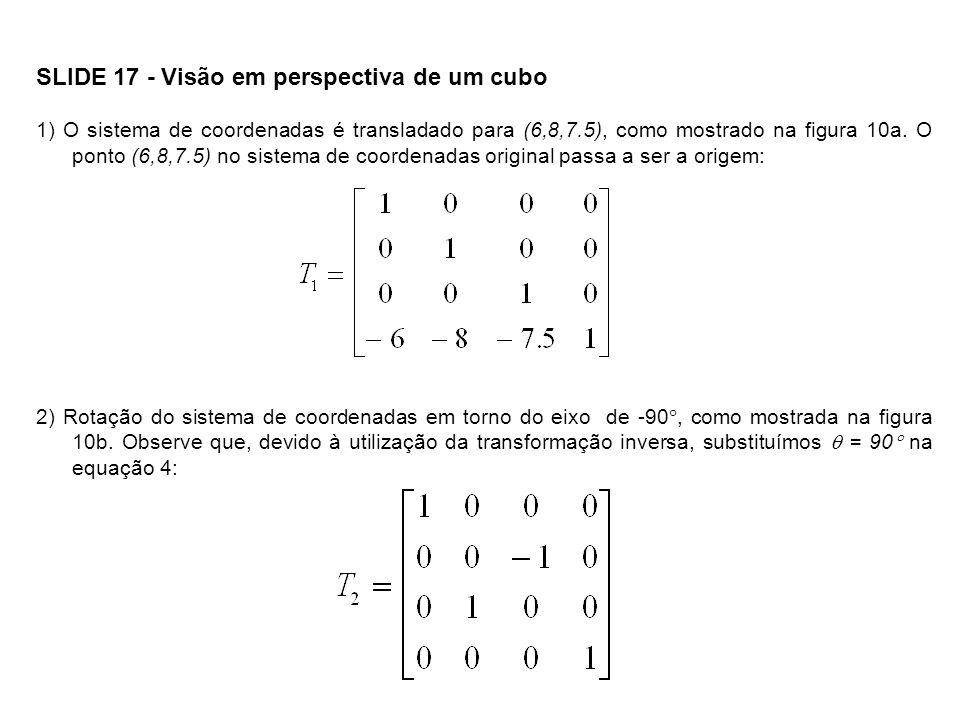 SLIDE 18 - Visão em perspectiva de um cubo Figura 10 - Cinco passos para realizar a transformação de visualização: (a) Translação; (b) Rotação em torno do eixo x; (c) Rotação em torno do eixo y; (d) Rotação em torno do eixo x; (e) Invertendo o eixo z.