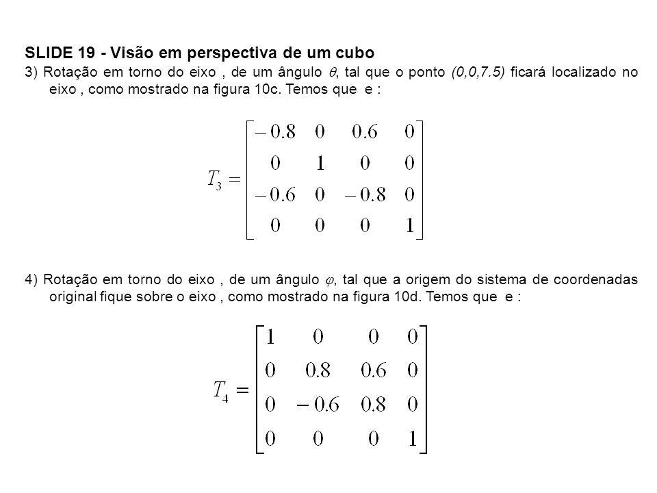 SLIDE 19 - Visão em perspectiva de um cubo 3) Rotação em torno do eixo, de um ângulo, tal que o ponto (0,0,7.5) ficará localizado no eixo, como mostra