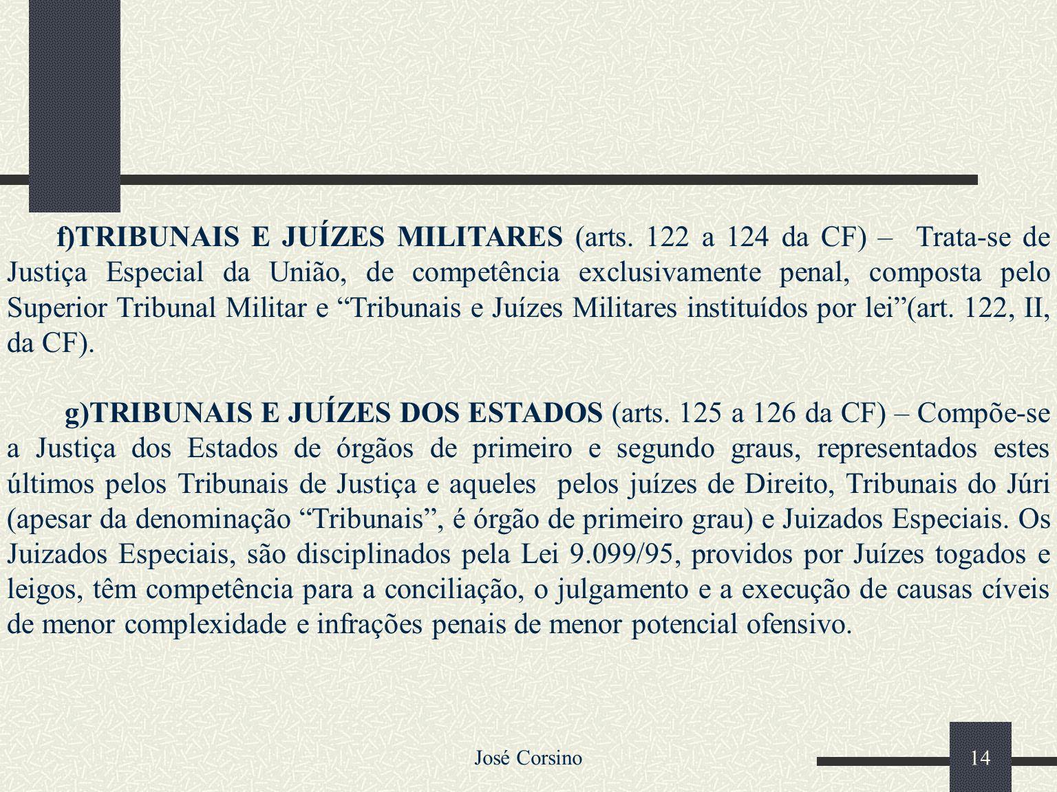 José Corsino 13 d)TRIBUNAIS E JUÍZES DO TRABALHO (arts. 111 a 117 da CF) – Integram a Justiça do Trabalho, como órgãos de jurisdição superior: o TST e