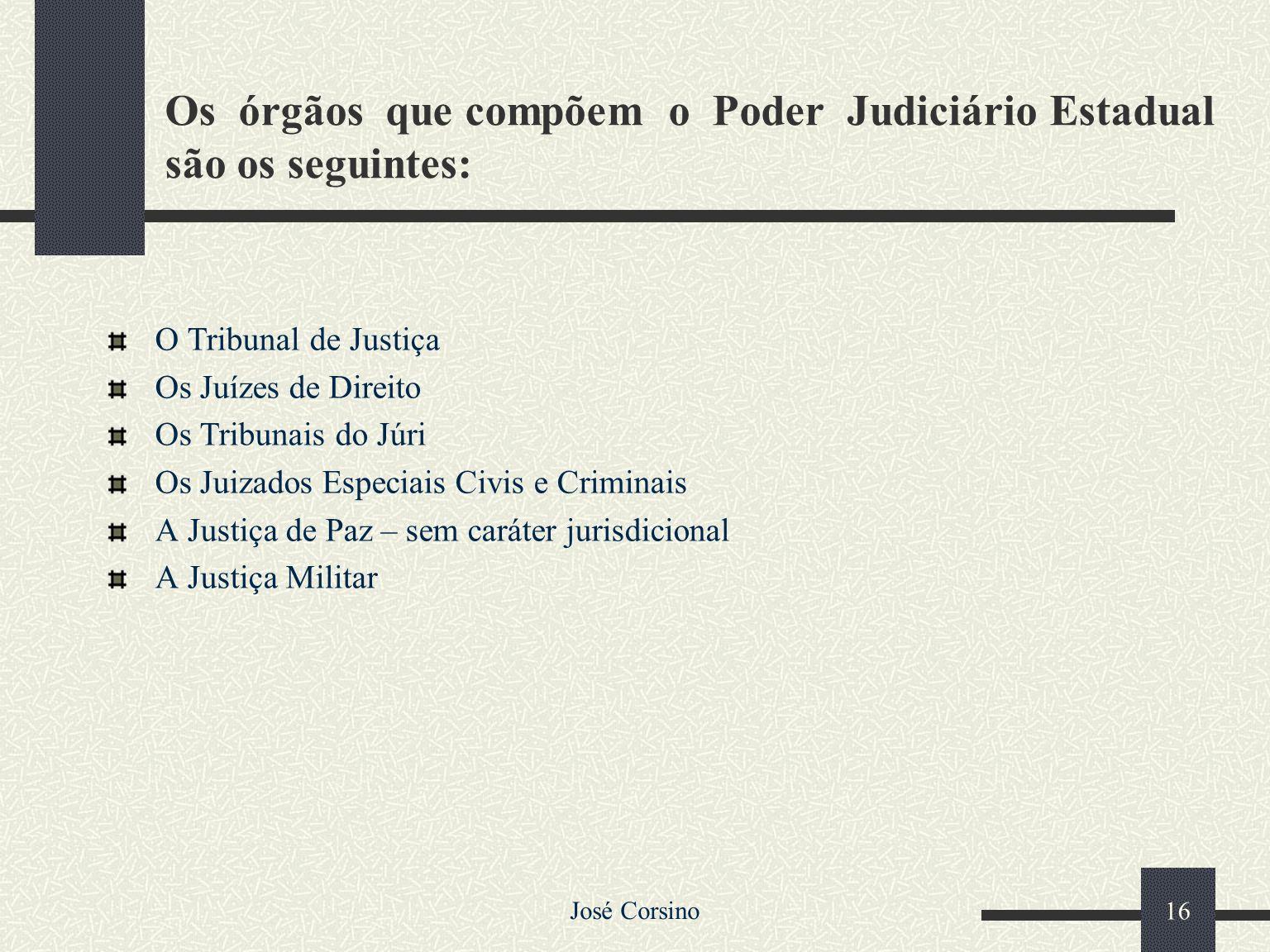 José Corsino 15 1.4 –Poder Judiciário Estadual Sendo a nossa forma de Estado uma Federação, tanto a União quanto os Estados-membros têm suas organizaç