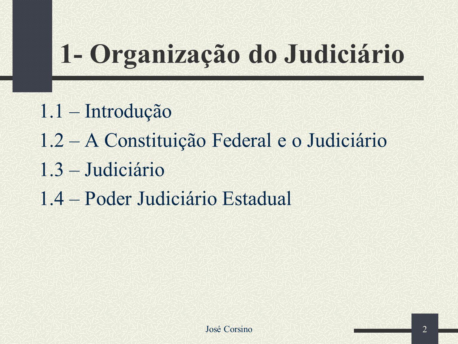 1 A ORGANIZAÇÃO DO JUDICIÁRIO E O PROCESSO JUDICIAL José Corsino Raposo Castelo Branco Advogado