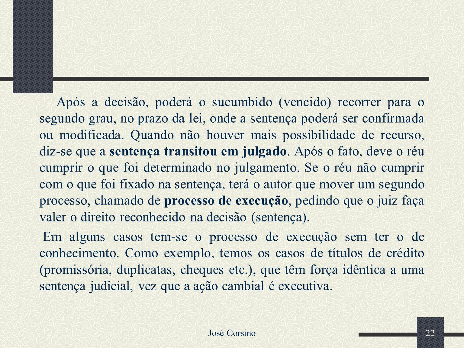 José Corsino 21 2.2 – PROCESSO CIVIL O processo civil é uma relação entre três entidades, onde o litigante (autor) pede ao juiz que lhe reconheça ou f