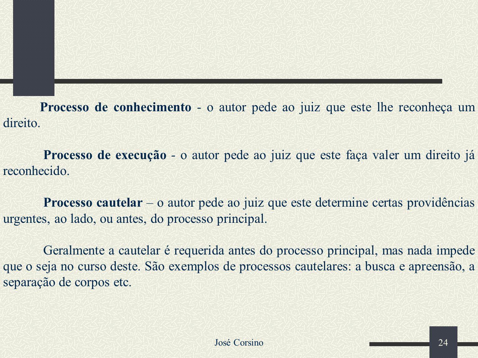José Corsino 23 2.3 – Divisões do Processo Civil O Processo Civil divide-se em: Processo de Conhecimento Processo de Execução Processo Cautelar