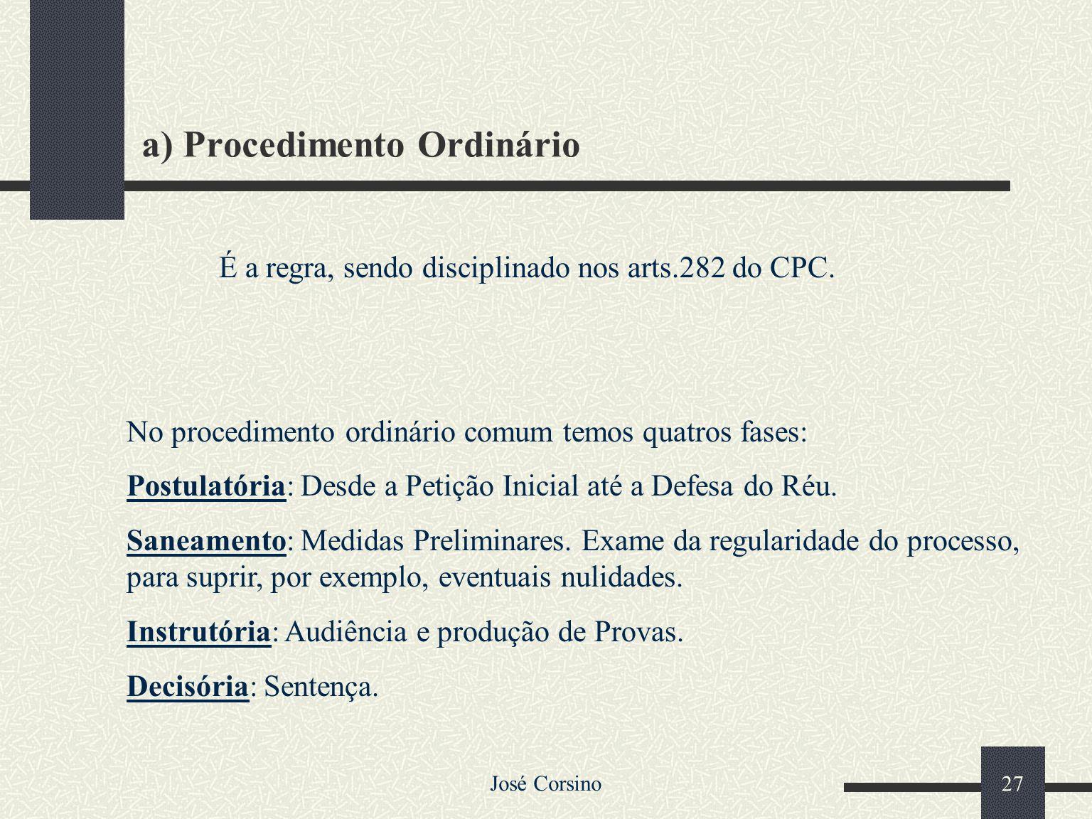 José Corsino 26 2.4.1 – Procedimento Comum Aplica-se a todas as causas, salvo disposição em contrário do CPC. Pode ser Ordinário ou Sumário (sumaríssi