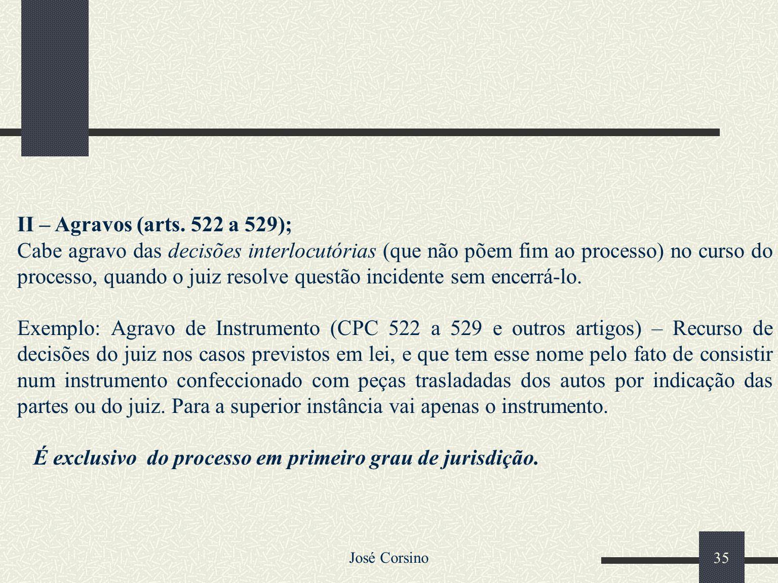 José Corsino 34 I – Apelação (arts. 513 a 521) É o recurso interposto contra sentenças proferidas em primeiro grau de jurisdição, com ou sem julgament