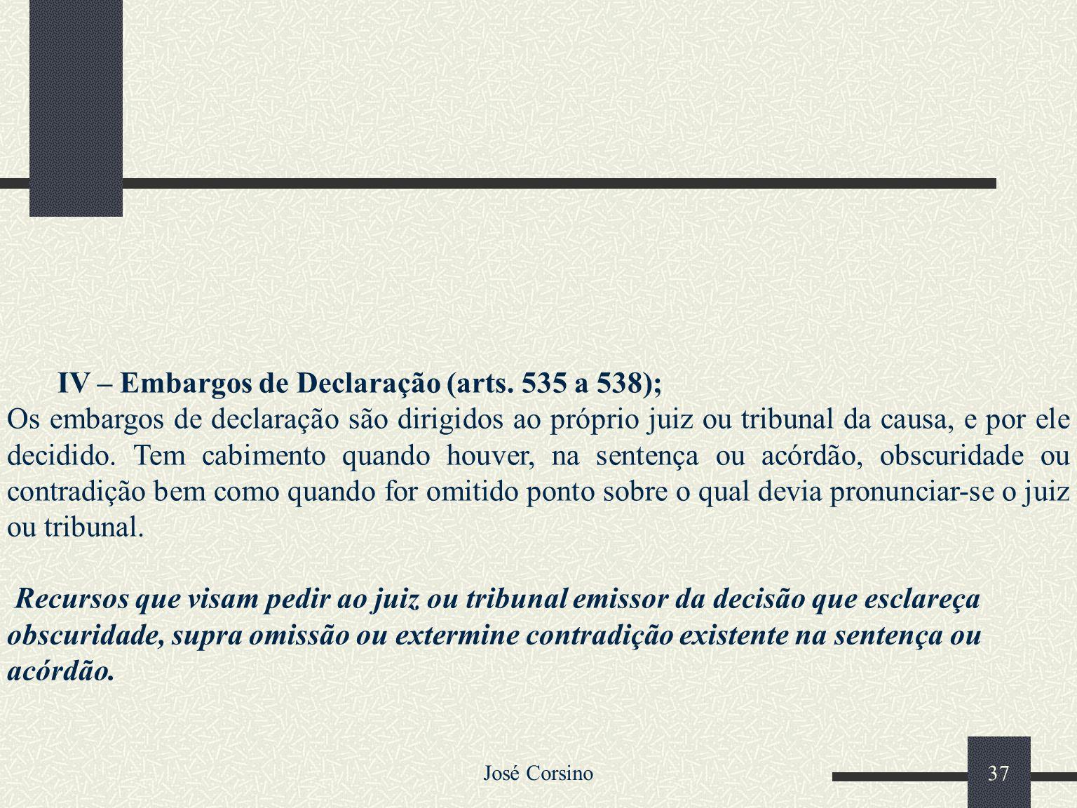 José Corsino 36 Embargo – Recurso para o próprio juiz que deu a sentença, para que ele declare ou esclareça alguma dúvida, reforme ou revogue a decisã