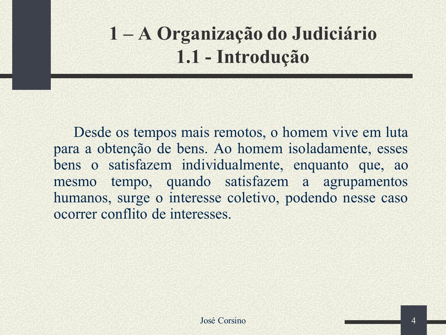 José Corsino 3 2- Processo Judicial 2.1 – Introdução 2.2 – Processo Civil 2.3 – Divisões do Processo Civil 2.4 – Processo e Procedimento 2.5 – Fluxogr