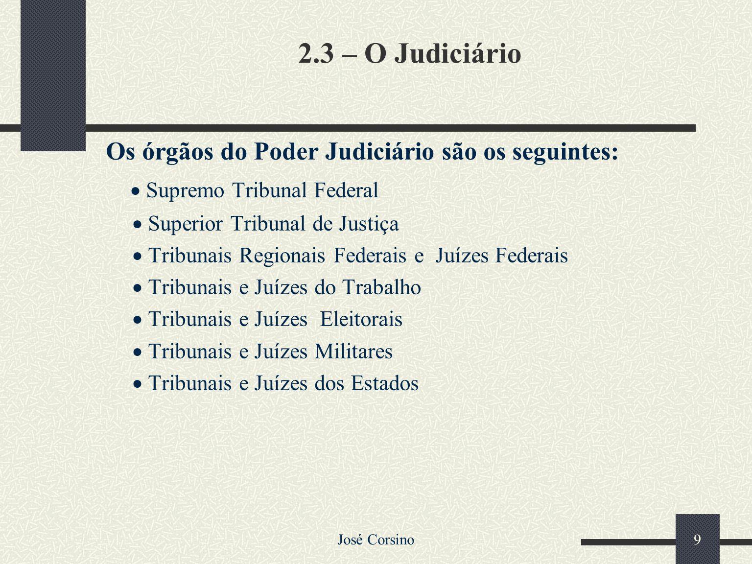 José Corsino 8 Ao Poder Judiciário é atribuída a função jurisdicional, pela qual o Estado atua o direito, disciplinando os casos concretos, mantendo o