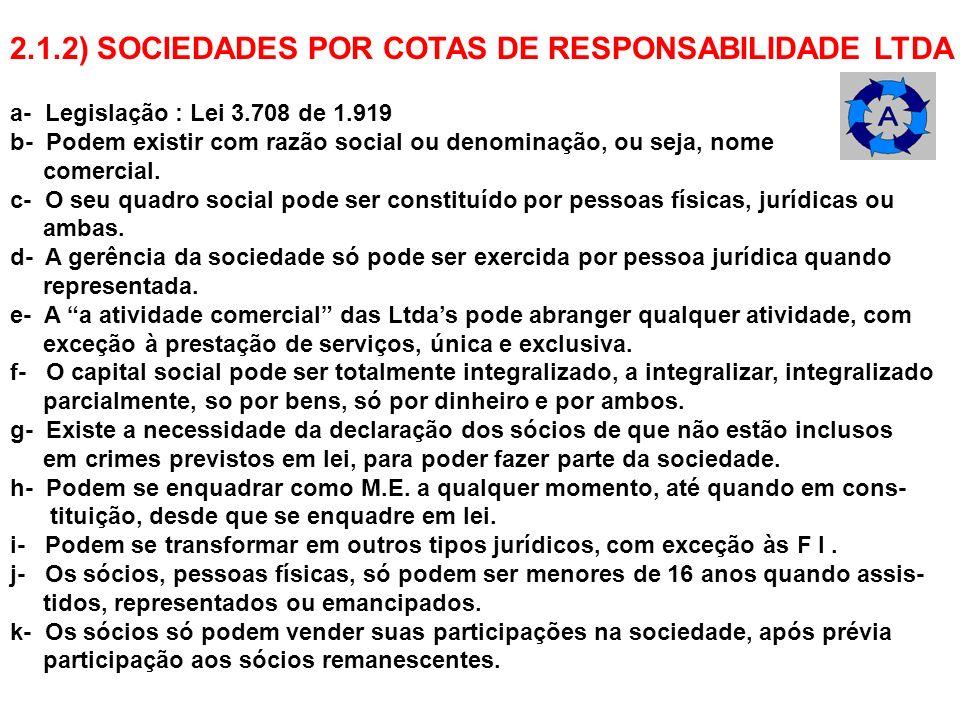 2.1.2) SOCIEDADES POR COTAS DE RESPONSABILIDADE LTDA a- Legislação : Lei 3.708 de 1.919 b- Podem existir com razão social ou denominação, ou seja, nom